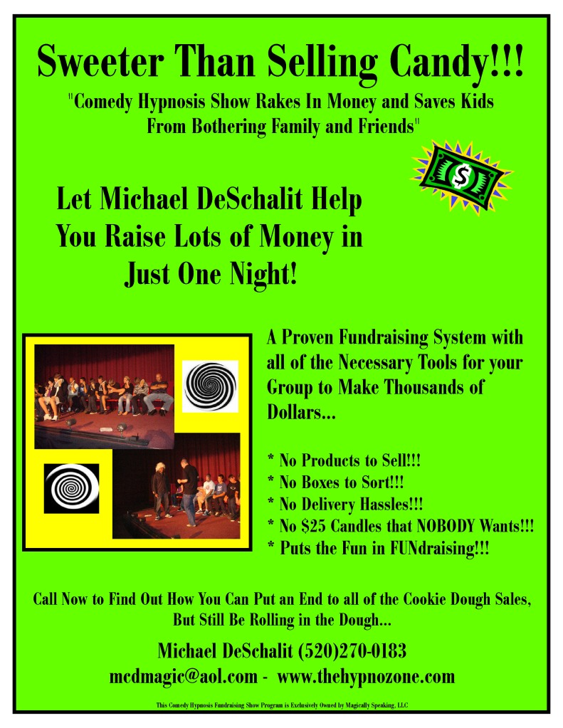 New Hypnosis Show Fundraising Flyer